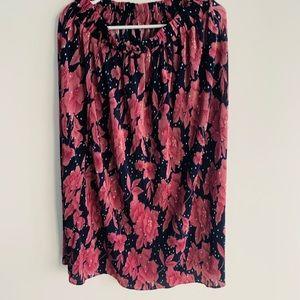 Knee length floral dress. Dark blue and pink.